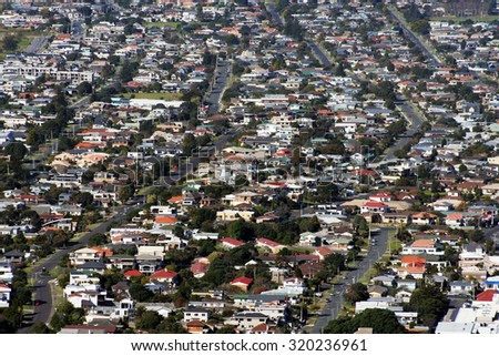 Aerial view of New Zealand houses at Mount Maunganui, Bay of Plenty, New Zealand