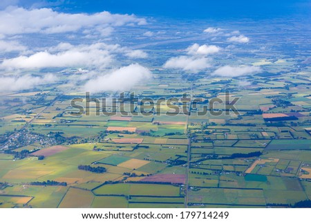 Aerial view of New Zealand landscape during the sunny day of summer  - stock photo