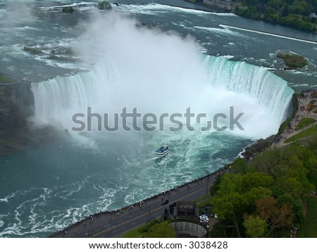 Aerial view of Niagara Falls between US and Canada - stock photo