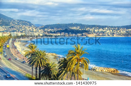 Aerial view of Nice, Cote d'Azur - stock photo
