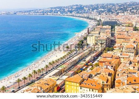 Aerial view of Nice, France - stock photo