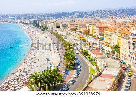 Aerial view of Nice, French Riviera - stock photo