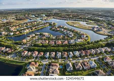 aerial view of nice south florida suburban housing community - stock photo