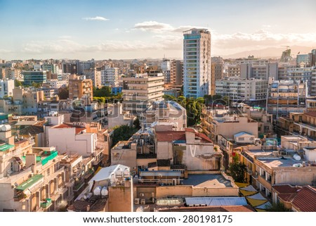 Aerial view of Nicosia city, Cyprus. - stock photo