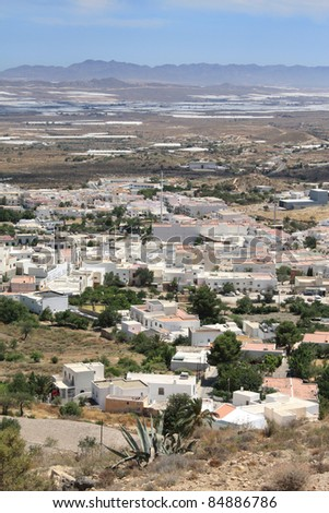 Aerial view of Nijar, a typical Andalusian village in the province of Almeria, Spain.