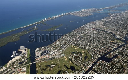 Aerial view of North Palm Beach, Florida - stock photo