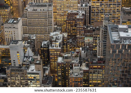 Aerial view of NYC skyline. - stock photo