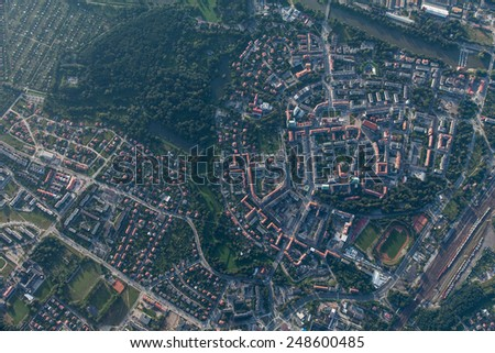 Aerial view of NYSA CITY - stock photo