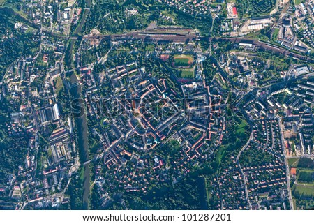 aerial view of  Nysa city in Poland - stock photo