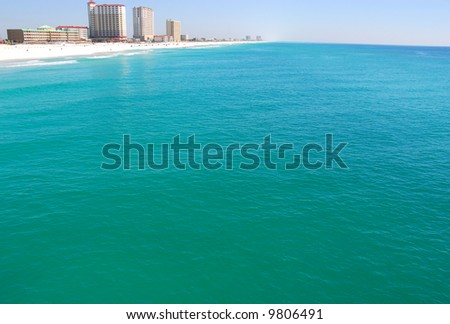 Aerial View of Ocean at Resort Town (Pensacola, Florida)