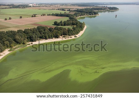 aerial view of of Nysa lake near Otmuchow town in Poland
