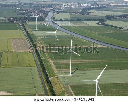 Aerial view of offshore wind turbine farm in Stampersgat, Noord-Brabant, The Netherlands.  - stock photo