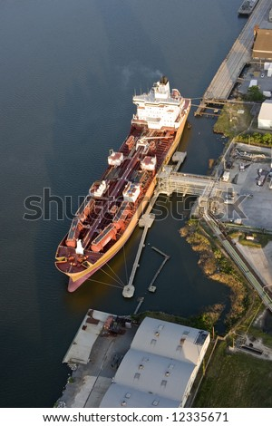 aerial view of oil tanker in port - stock photo