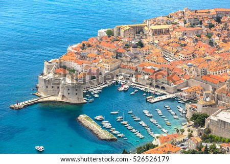 Aerial view of old city Dubrovnik in a beautiful summer day, Croatia