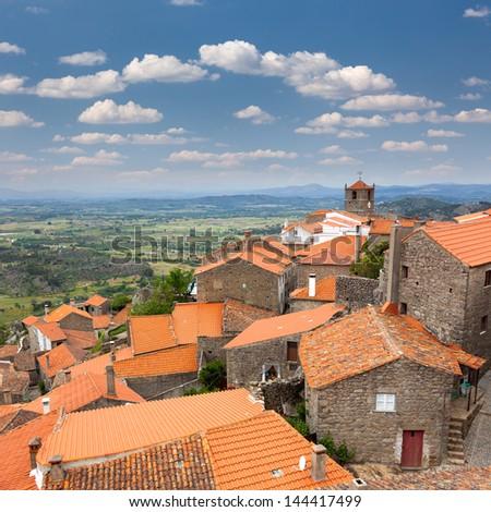 Aerial view of old european village / Monsanto / Portugal - stock photo