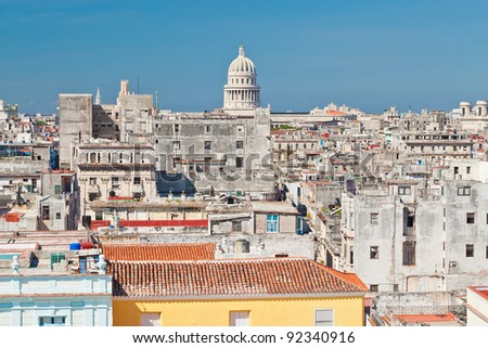 aerial view of Old Havana and the Capitol dome - stock photo