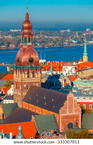 Aerial view of Old Town and River Daugava from Saint Peter church, with Riga Cathedral and Riga castle, Riga, Latvia - stock photo