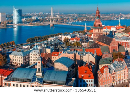 Aerial view of Old Town and River Daugava from Saint Peter church, with Riga Cathedral, Cathedral Basilica of Saint James and Riga castle, Riga, Latvia - stock photo