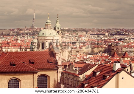 Aerial view of Old Town in Prague (Czech Republic) - stock photo