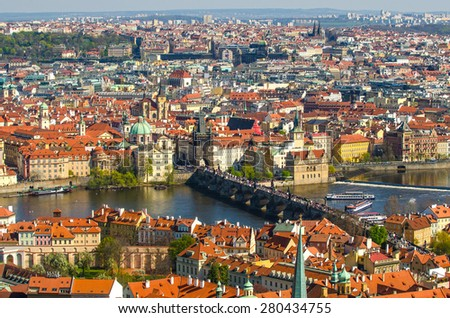 Aerial view of Old Town in Prague (Czech Republic). Charles (Karluv) Bridge and Vltava river. - stock photo