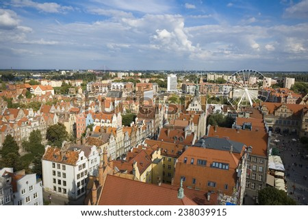 Aerial view of Old Town of Gdansk, Poland