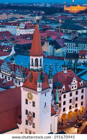 Aerial view of old town tower by night, Munich, Germany. - stock photo