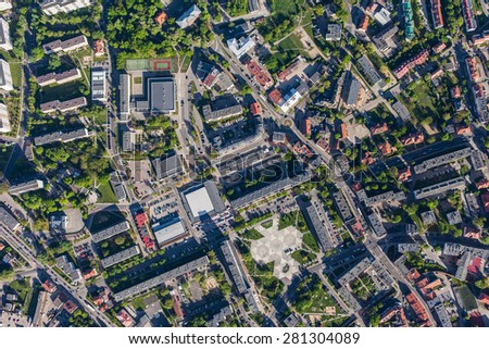 aerial view of Olesnica city in Poland