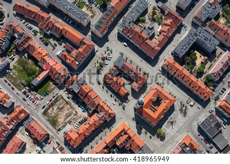 aerial view of Olesnica city in Poland - stock photo