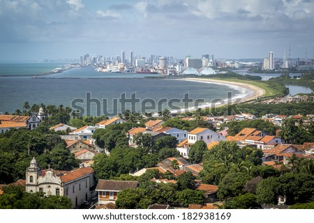 Aerial view of Olinda and Recife in Pernambuco, Brazil during the summer season.