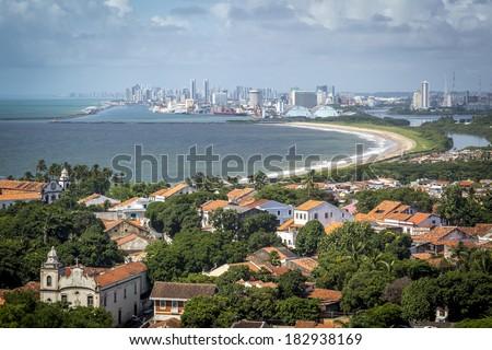 Aerial view of Olinda and Recife in Pernambuco, Brazil during the summer season. - stock photo