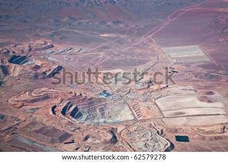 aerial view of open-pit copper mine in Atacama desert, Chile - stock photo