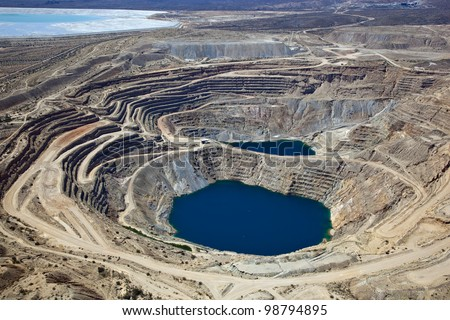 Aerial view of Open Pit Copper Mine near Green Valley, Arizona - stock photo