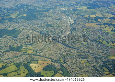 Aerial View of Orpington in morning, United Kingdom