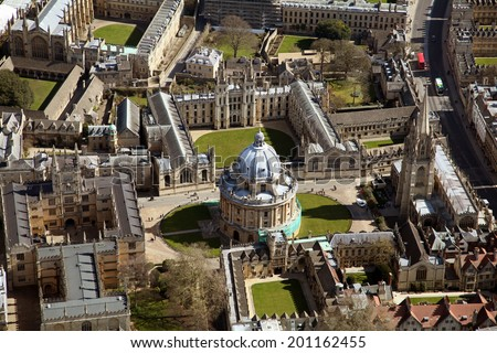 aerial view of Oxford University in the UK - stock photo