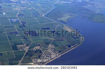 Aerial view of Pahokee, Florida and marina, on Lake okeechobee - stock photo