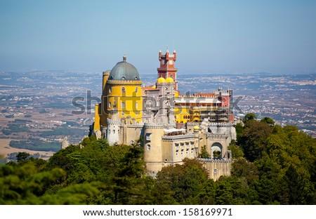 Aerial view of Palace da Pena. Sintra, Lisbon. Portugal. European travel  - stock photo