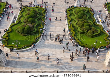 Aerial view of Palace of the fine arts courtyard. - stock photo