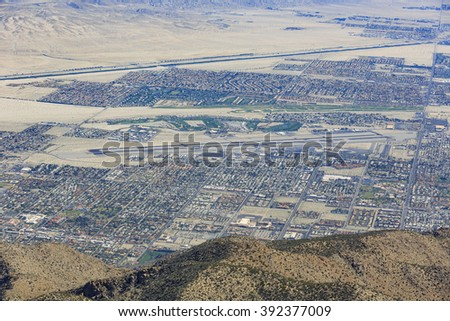 Aerial view of Palm Springs city from top, California