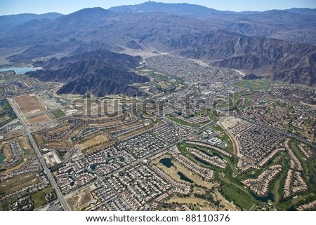 Aerial view of Palm Springs surrounding communities - stock photo