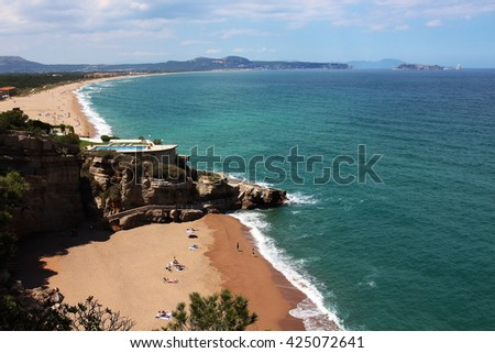 """Aerial view of """"Pals"""" beach in """"La Costa Brava"""" region. This is one of the most wonderful spots of the Spanish mediterranean seaside. - stock photo"""