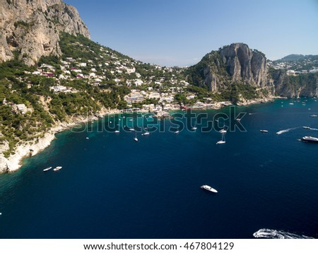 Aerial View of Paradise Beach in Capri Island, Italy