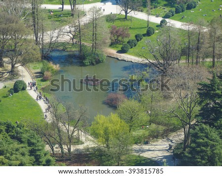 Aerial view of Parco Sempione park in the city of Milan in Italy