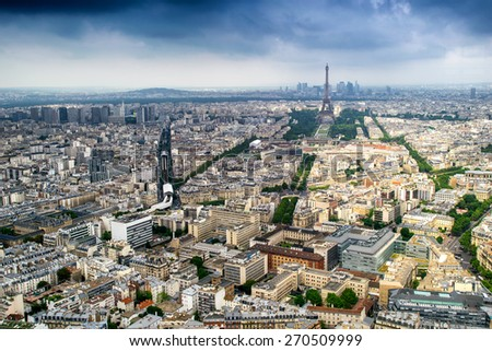 Aerial view of Paris.
