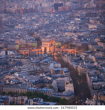 Aerial view of Paris architecture from the Eiffel tower. - stock photo