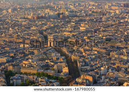Aerial view of Paris architecture from the Eiffel tower.