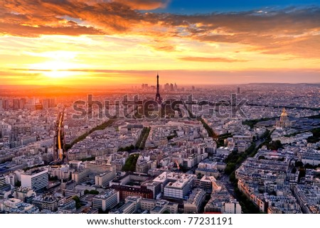 Aerial view of Paris at sunset - stock photo