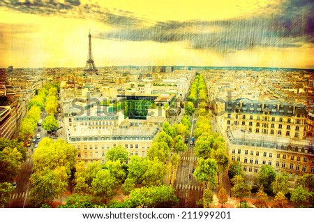Aerial view of Paris France - stock photo