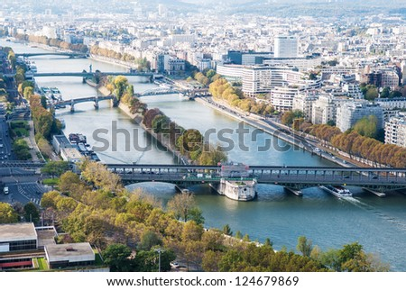 Aerial view of Paris from Eiffel tower. Seine river. Autumn. - stock photo