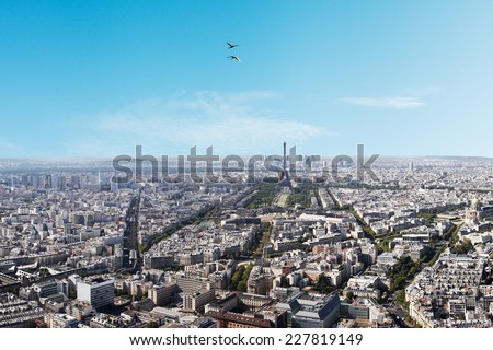 Aerial view of Paris from Montparnasse tower.