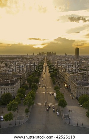 aerial view of Paris. From the arch of triumph, far off the bow of defense - stock photo